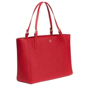 Tory Burch Emerson Buckle Large Tote Red Like New